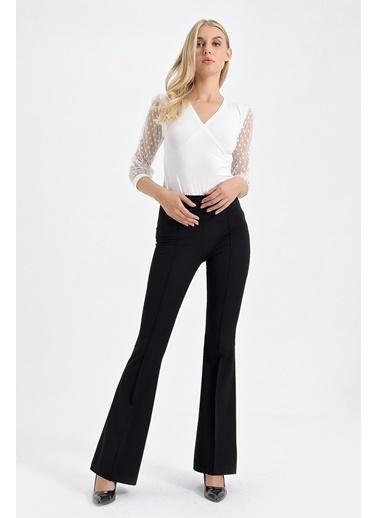 Jument Yüksek Bel Önü Arka Dikişli Ispanyol Pantolon -  Bordo Siyah